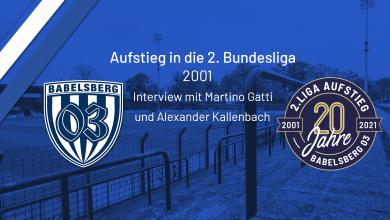 Bild von Interviews mit Martino Gatti und Alexander Kallenbach anläßlich des Aufstiegs in die 2. Bundesliga 2001